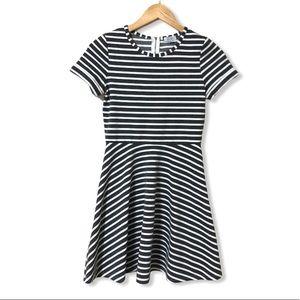 Tobi Striped Short Sleeve Skater Dress—S